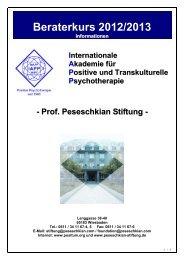 Beraterkurs 2012/2013 - Positive und Transkulturelle Psychotherapie