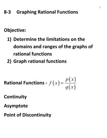 Graphing Rational Functions from College Algebra