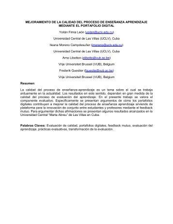 MEJORAMIENTO DE LA CALIDAD DEL PROCESO ... - Virtual Educa