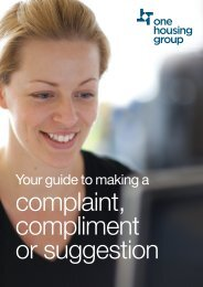 complaint, compliment or suggestion - One Housing Group