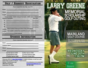 Larry Greene Memorial Scholarship Golf Outing - EasternPAFootball