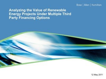 The Need for Third Party Financing of Renewable Energy ... - E2S2