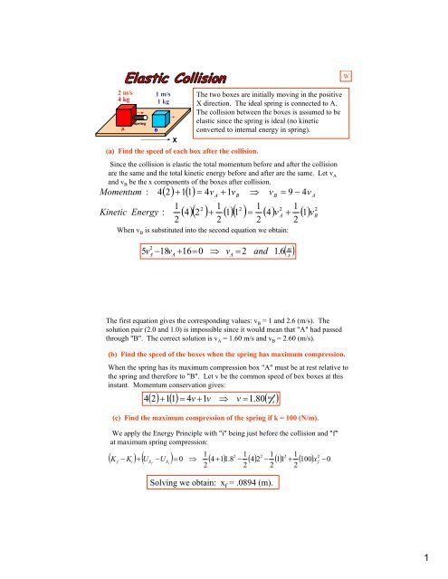 One Dimensional Elastic Collision