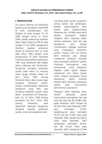 Sekilas Ulasan UU Perbankan Syariah - Bank Indonesia