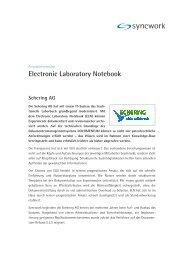 Projektinfo Schering - ELN - Syncwork AG
