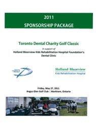 2011 SPONSORSHIP PACKAGE Toronto Dental Charity Golf Classic