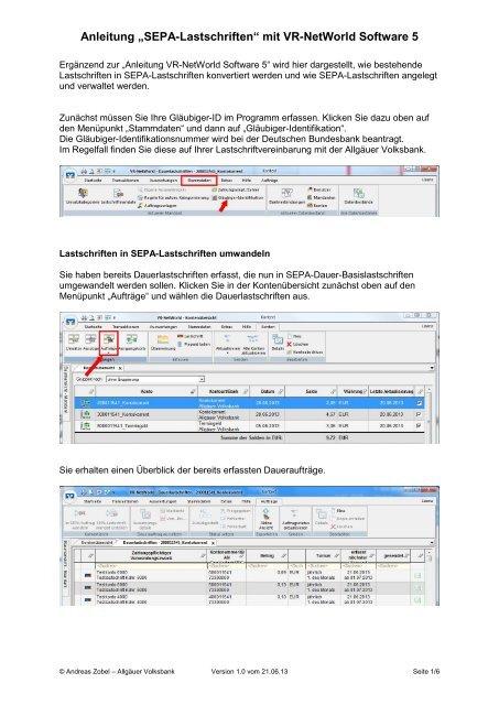"Anleitung ""SEPA-Lastschriften"" mit VR-NetWorld Software 5"