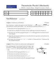 Theoretische Physik I (Mechanik) Nachklausur am 18.03.09