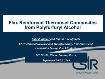 Flax Reinforced Thermoset Composites from Polyfurfuryl Alcohol
