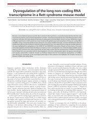 Dysregulation of the long non-coding RNA transcriptome in a Rett ...