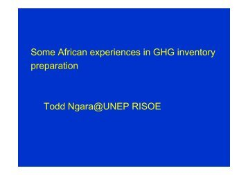 Some African experiences in GHG inventory preparation Todd ...