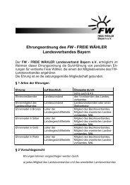 Ehrungsordnung des FW - Freie Wähler Bayern