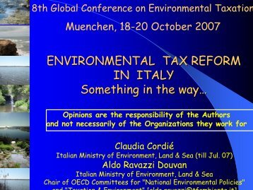 ENVIRONMENTAL TAX REFORM IN ITALY Something in the way…