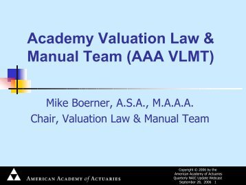 Academy Valuation Law & Manual Team (AAA VLMT)