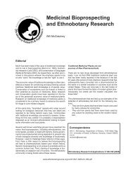 Medicinal Bioprospecting and Ethnobotany Research