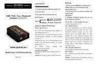 USB / iPod / Aux / Bluetooth Interface