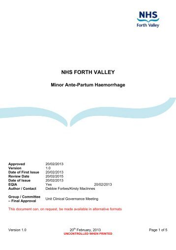 Minor Ante-Partum Haemorrhage - NHS Forth Valley