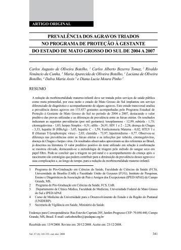 PrEValÊnCia DoS agraVoS triaDoS no PrograMa DE ProtEÇÃo À ...