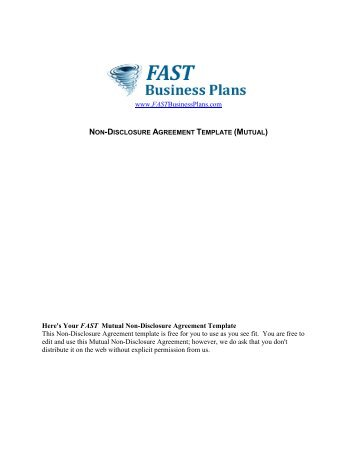 Mutual Non Disclosure Agreement Template   Fast Business Plans  Mutual Agreement Template