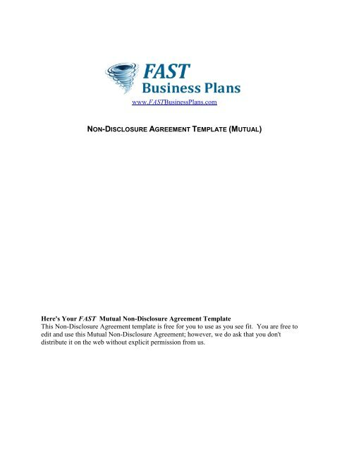 Mutual Non Disclosure Agreement Template Fast Business Plans