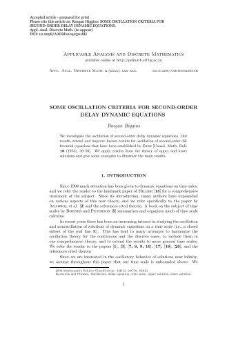 Applicable Analysis and Discrete Mathematics SOME OSCILLATION ...