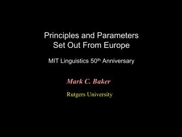 The Innate Endowment for Language - 50 years of Linguistics at MIT