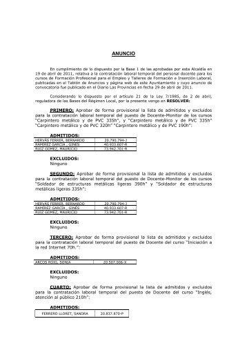 Anuncio docentes FPO y TFIL 2011-List. Provisional - Ajuntament d ...