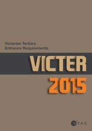 VICTER 2015: Victorian Tertiary Entrance Requirements - VTAC