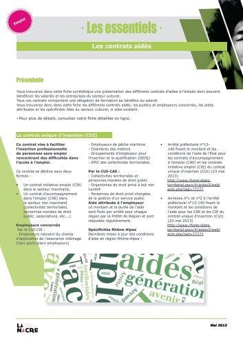 Les contrats aidés - La NACRe