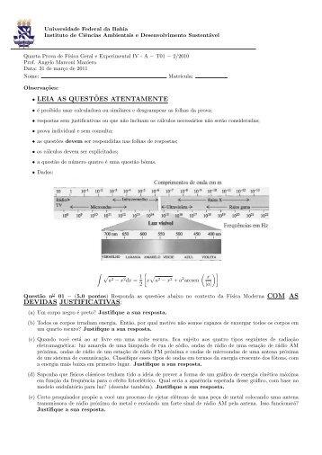 Prova IV - Instituto de Física da UFBA - Universidade Federal da Bahia