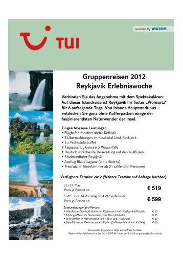 Gruppenreisen 2012 Reykjavik Erlebniswoche