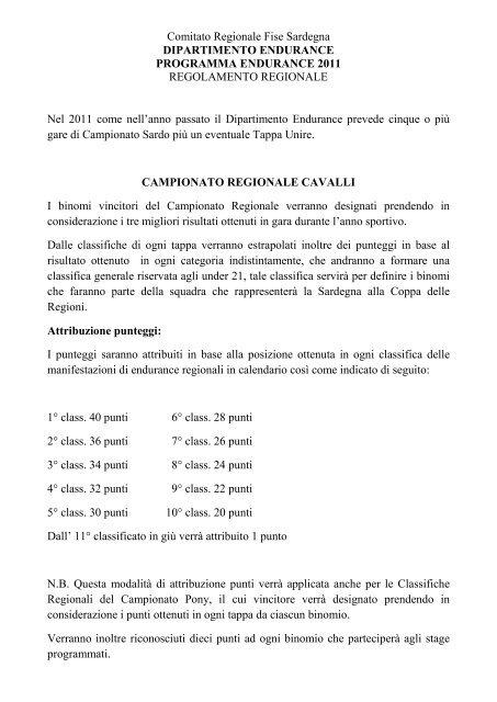 Fise Calendario Regionale.Comitato Regionale Fise Sardegna Dipartimento Endurance