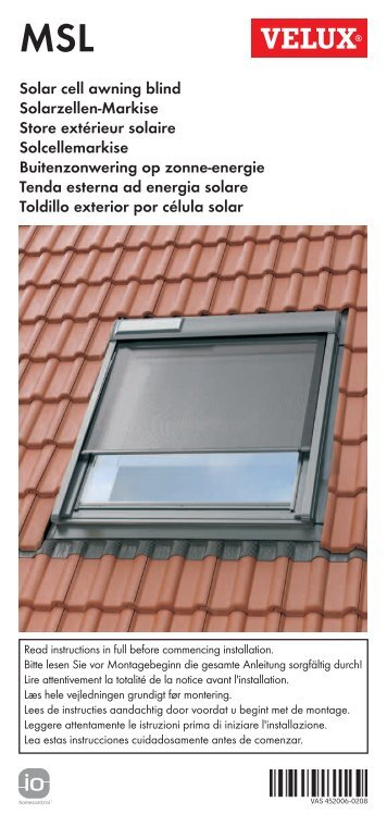 English instructions for solar awning blind deutsch for Velux solar blinds installation instructions