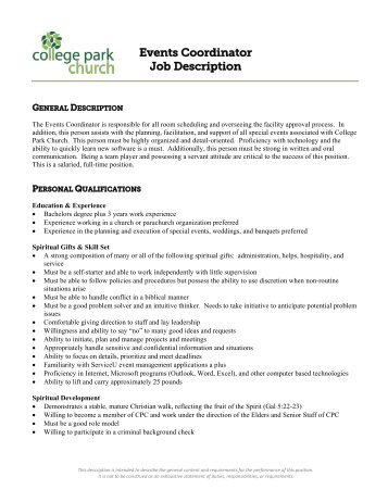 Event Coordinator Job Description  Pine Castle