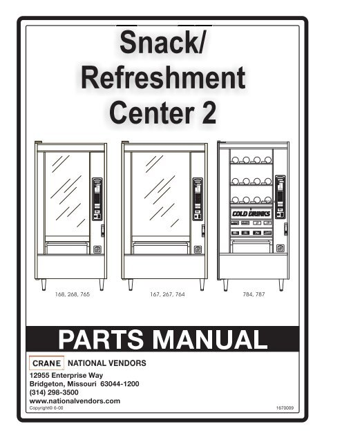 Snack / Refreshment Center 2 Parts Manual - Vending Machines on