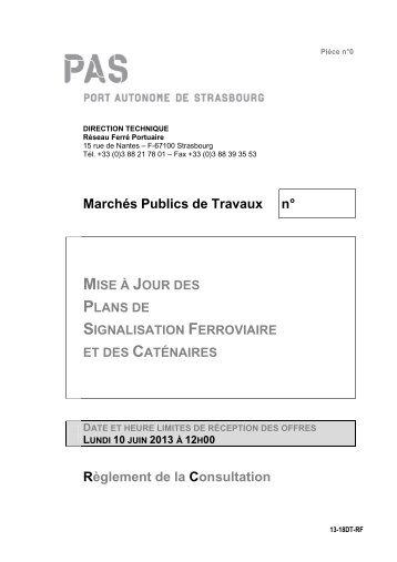 Marchés Publics de Travaux n° Règlement de la Consultation