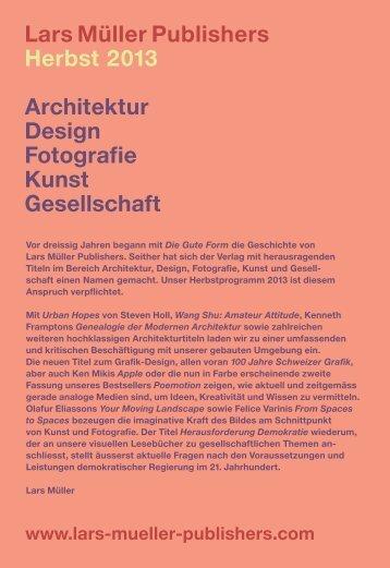 PDF – Deutsch, Herbst 2013 - Lars Müller Publishers