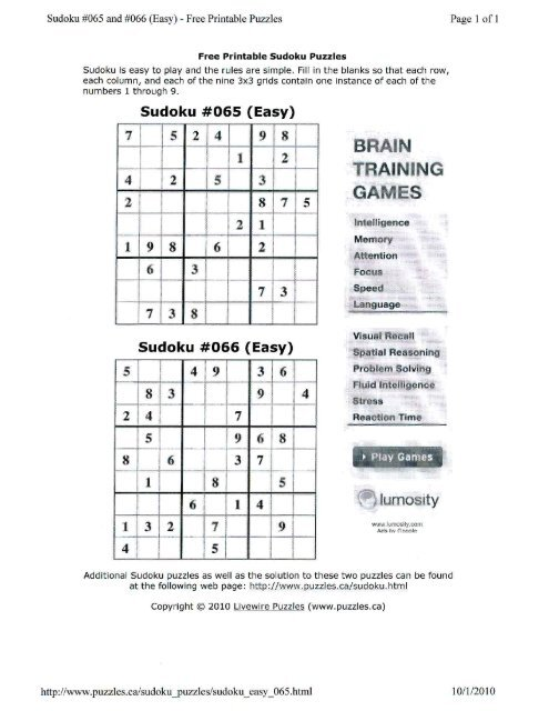 Easy Sudoku Puzzles With Answers To Print