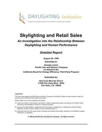 Skylighting and Retail Sales An Investigation into the ... - FVLR