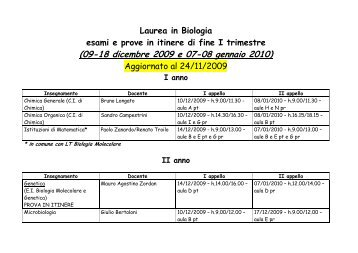 (09-18 dicembre 2009 e 07-08 gennaio 2010) - Biologia