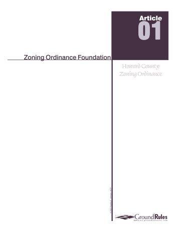 Zoning Ordinance Foundation Howard County Zoning Ordinance ...