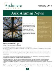 Alumni Newsletter February 2011 - Archmere Academy