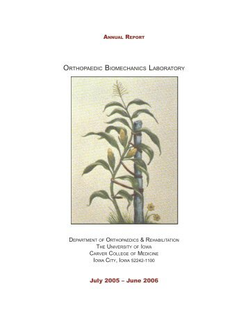 Annual Report 2005-2006 - Orthopaedic Biomechanics Laboratory