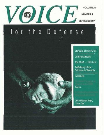 f o r t h e D e f e n s e 1 - Voice For The Defense Online