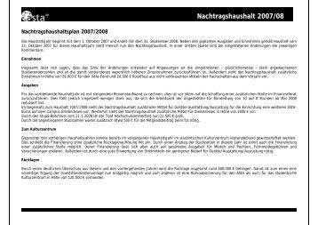 Nachtragshaushalt 2007/08 - AStA