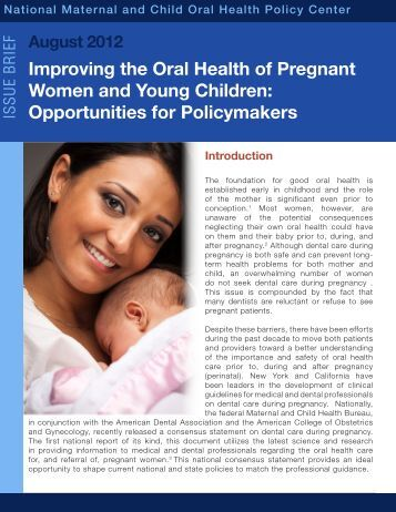 Improving the Oral Health of Pregnant Women and Young Children ...