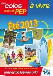 Le catalogue des colos PEP 2013