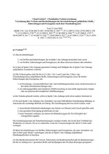 ChemVerbotsV - Chemikalien-Verbotsverordnung Verordnung über ...