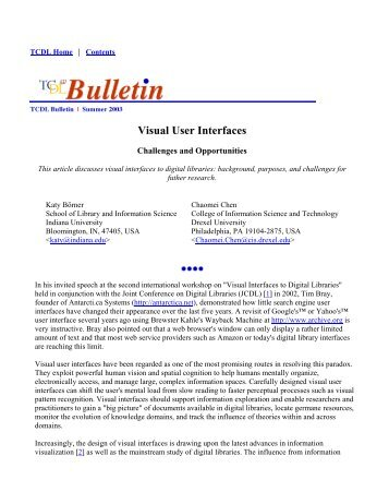 Visual User Interfaces - Cyberinfrastructure for Network Science ...