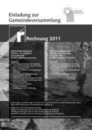 Einladung zur Gemeindeversammlung Rechnung 2011